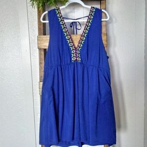 Cacique blue embroidered trim cover up swim dress